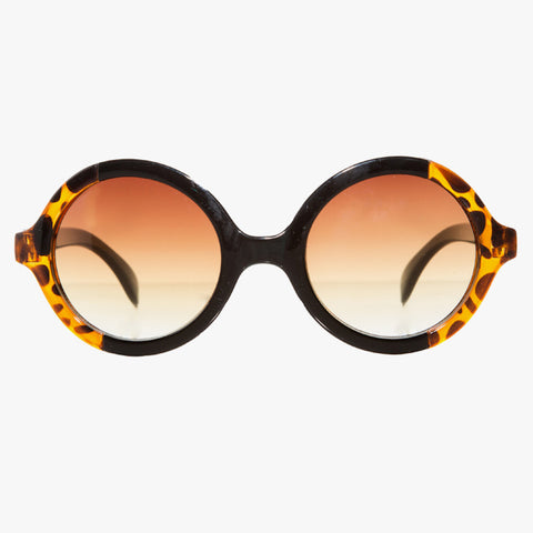 Tortoise Shell Round Sunglasses With Black Split - Accessory O