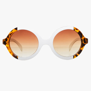 Tortoise Shell Round Sunglasses With White Split - Accessory O