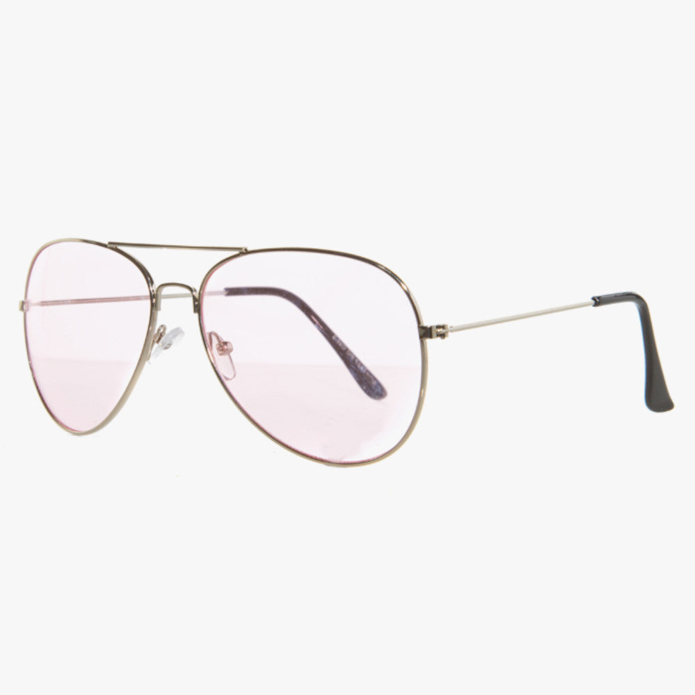 Silver Aviator Sunglasses With Pink Lens - Accessory O