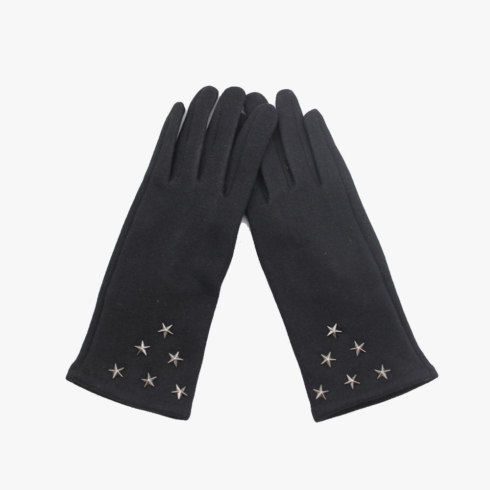 SVNX Black Super Soft Star Studded Gloves - Accessory O