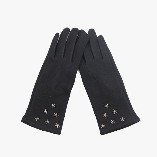 SVNX Black Super Soft Star Studded Gloves
