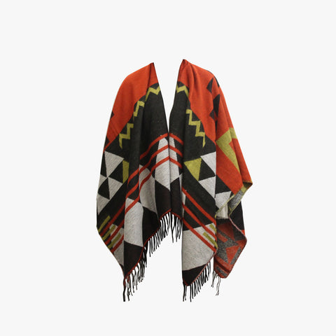 SVNX Rust Folk Inspired Tribal Print Blanket Scarf - Accessory O