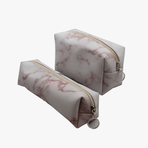 SVNX Pink Marble Effect Make Up Bag Set