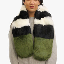 Load image into Gallery viewer, SVNX Pelican Black & White Stripe Faux Fur Scarf With Green Tip - Accessory O