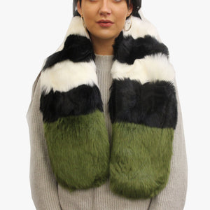 SVNX Pelican Black & White Stripe Faux Fur Scarf With Green Tip - Accessory O