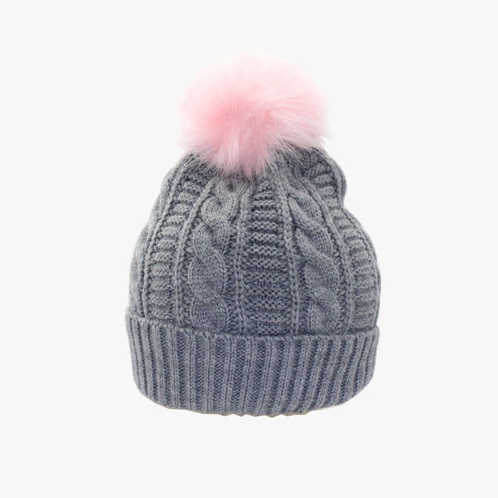 SVNX Grey Cable Knit Beanie with Baby Pink Pom Pom