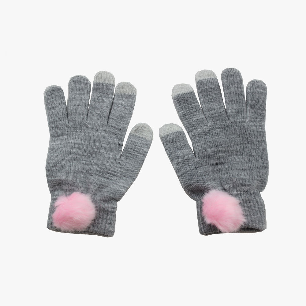 SVNX Grey Touch Screen Gloves With Pink Pom Pom Detail - Accessory O