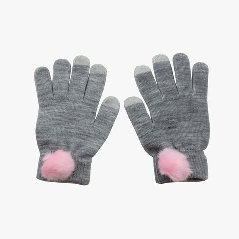 SVNX Grey Touch Screen Gloves With Pink Pom Pom Detail