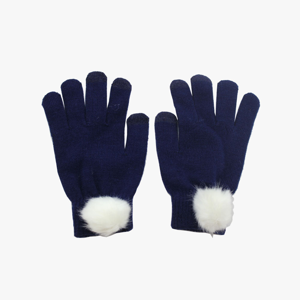 SVNX Navy Touch Screen Gloves With White Pom Pom Detail - Accessory O