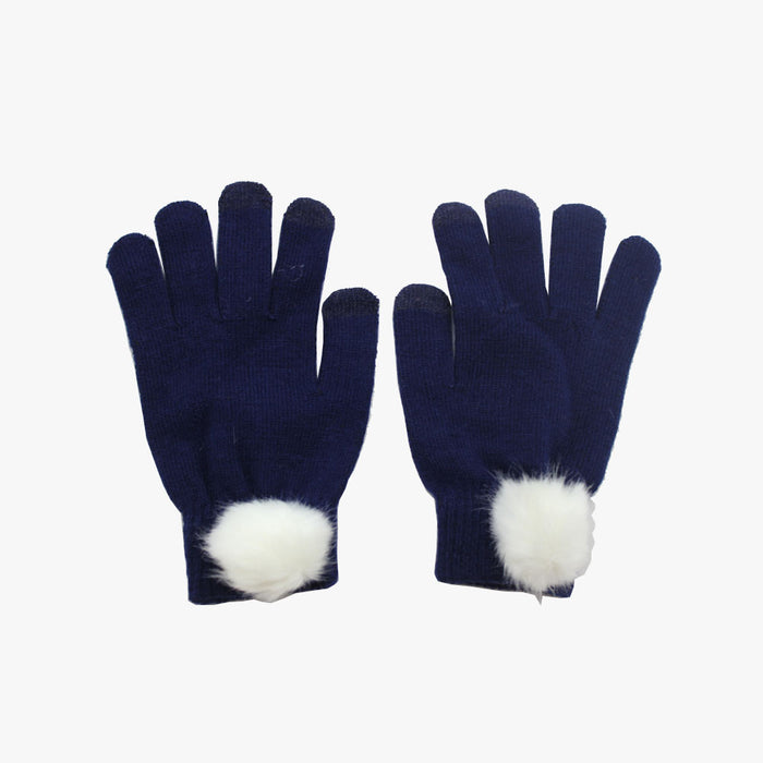 SVNX Navy Touch Screen Gloves With White Pom Pom Detail