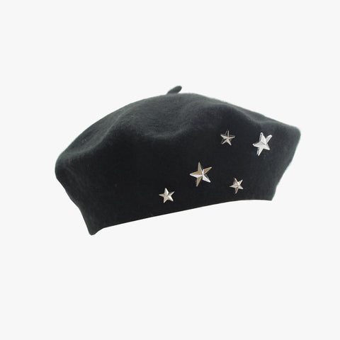 SVNX Black Star Studded Beret - Accessory O