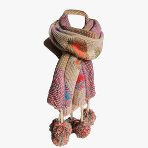 SVNX Folksy Multi Colour Pom Pom Scarf - Accessory O