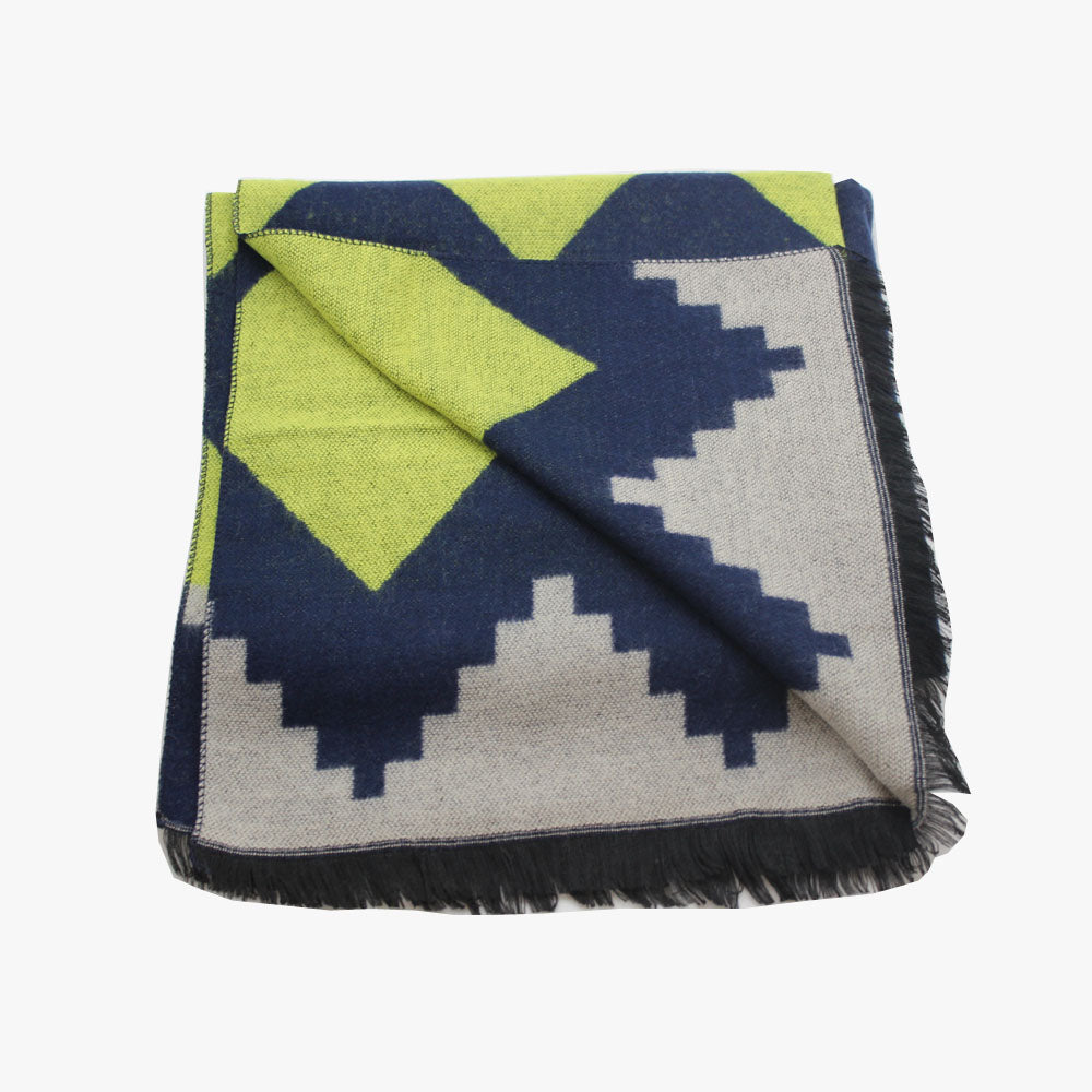 SVNX Blue Tribal Print XL Blanket Scarf - Accessory O