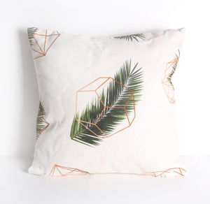 Geometric leaf print cushion