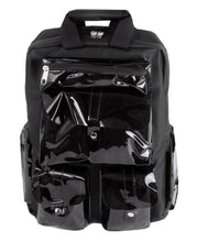 Load image into Gallery viewer, Black backpack with clear PVC pockets