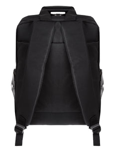 Black backpack with clear PVC pockets