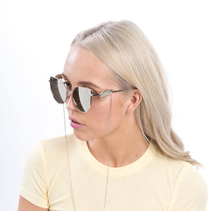 a80608daff75 Ellie Silver Coated Winged Cat Eye Sunglasses with Detachable Chain -  Accessory O