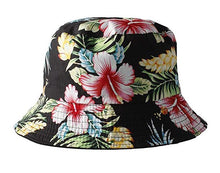 Load image into Gallery viewer, black reversible bucket hat womens unisex multi colour floral amazon print daily festival summer holiday cap