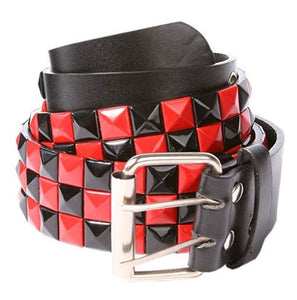 checkerboard rock mens ladies belt black red amazon style rocker silver