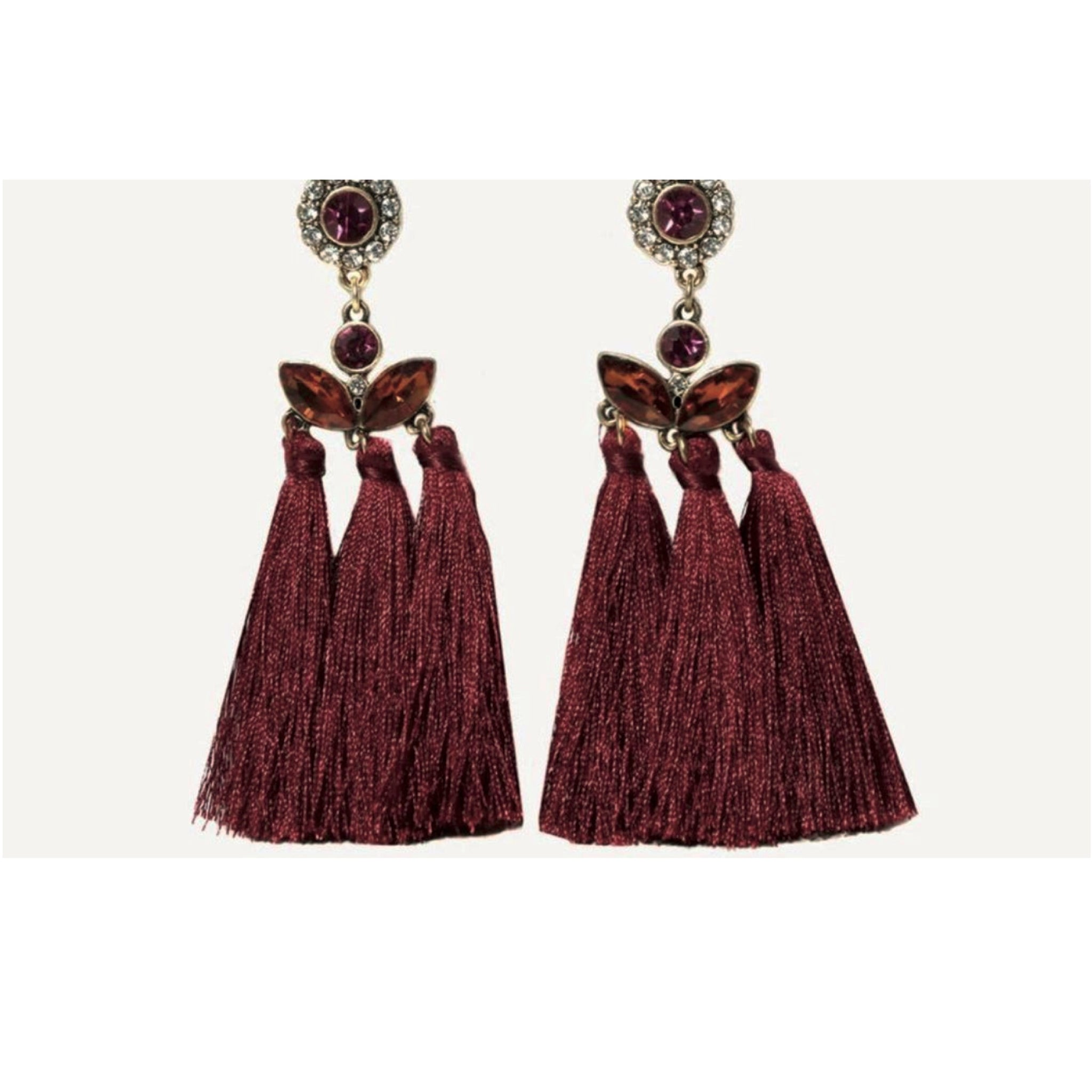 Scarlet Ornate Jewel Tassel Earring