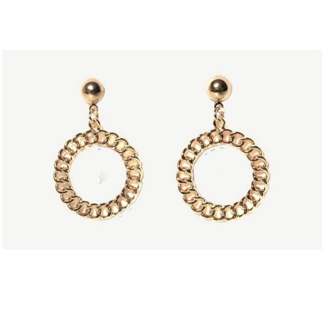 Gold Chain Hoop Statement Earrings