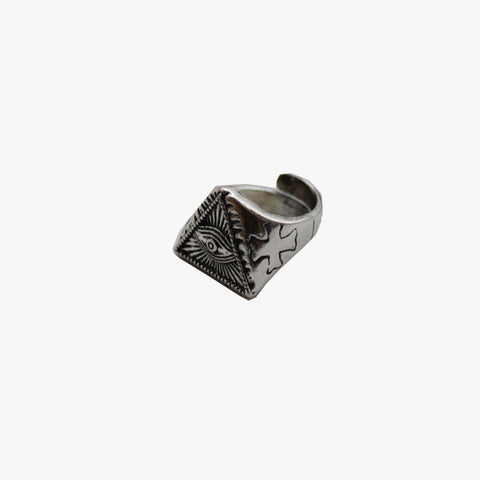 SVNX Mens Eye of Providence Silver Statement Ring