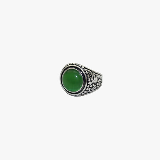 SVNX Green Glass Gem Silver Ring