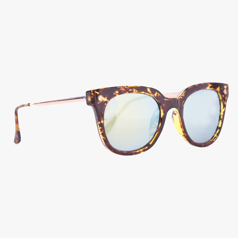 Brown Tortoise Shell Wayfarer Sunglasses With Green Revo Lens - Accessory O