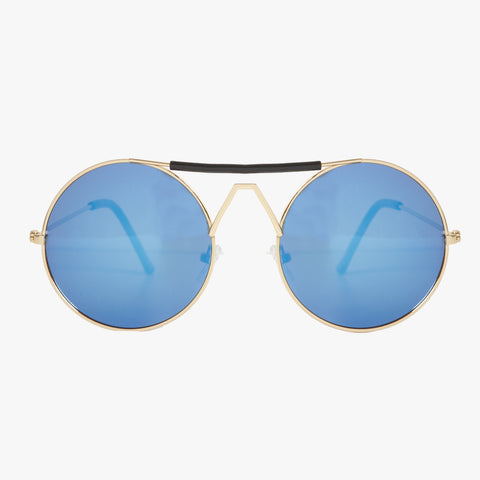 Gold Round Sunglasses With Black Highbrow Detail - Accessory O