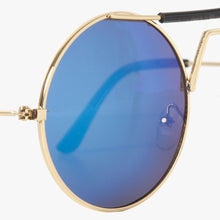 Load image into Gallery viewer, Gold Round Sunglasses With Black Highbrow Detail - Accessory O