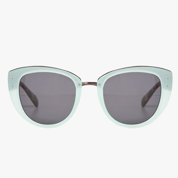 Mint Green Retro Sunglasses With Gold Bridge And Smoke Lenses - Accessory O