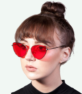 Angular Cat Eye Red Lens Sunglasses - Accessory O