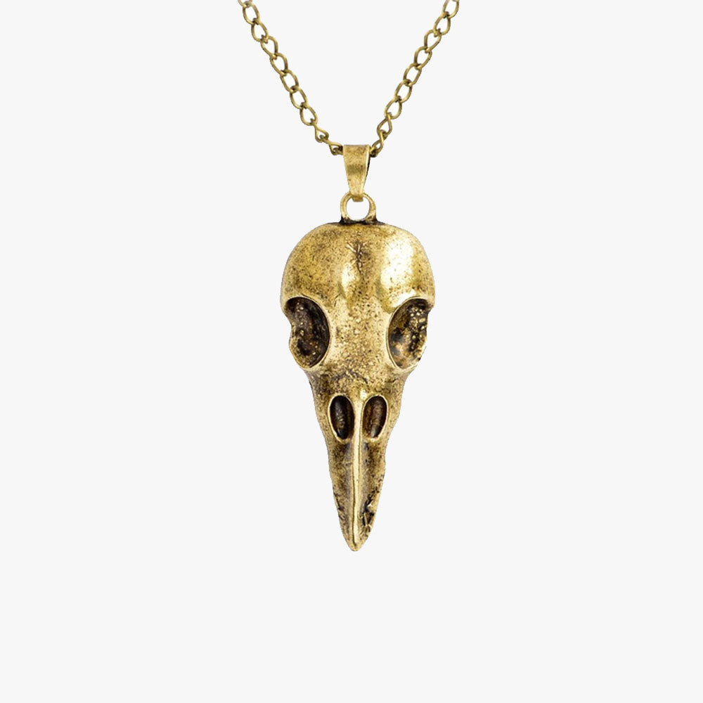 SVNX Mens Gold Nordic Skull Pendant Necklace - Accessory O