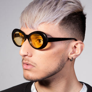 Round Plastic Kurt Cobain Style Black Sunglasses with Yellow Lens - Accessory O