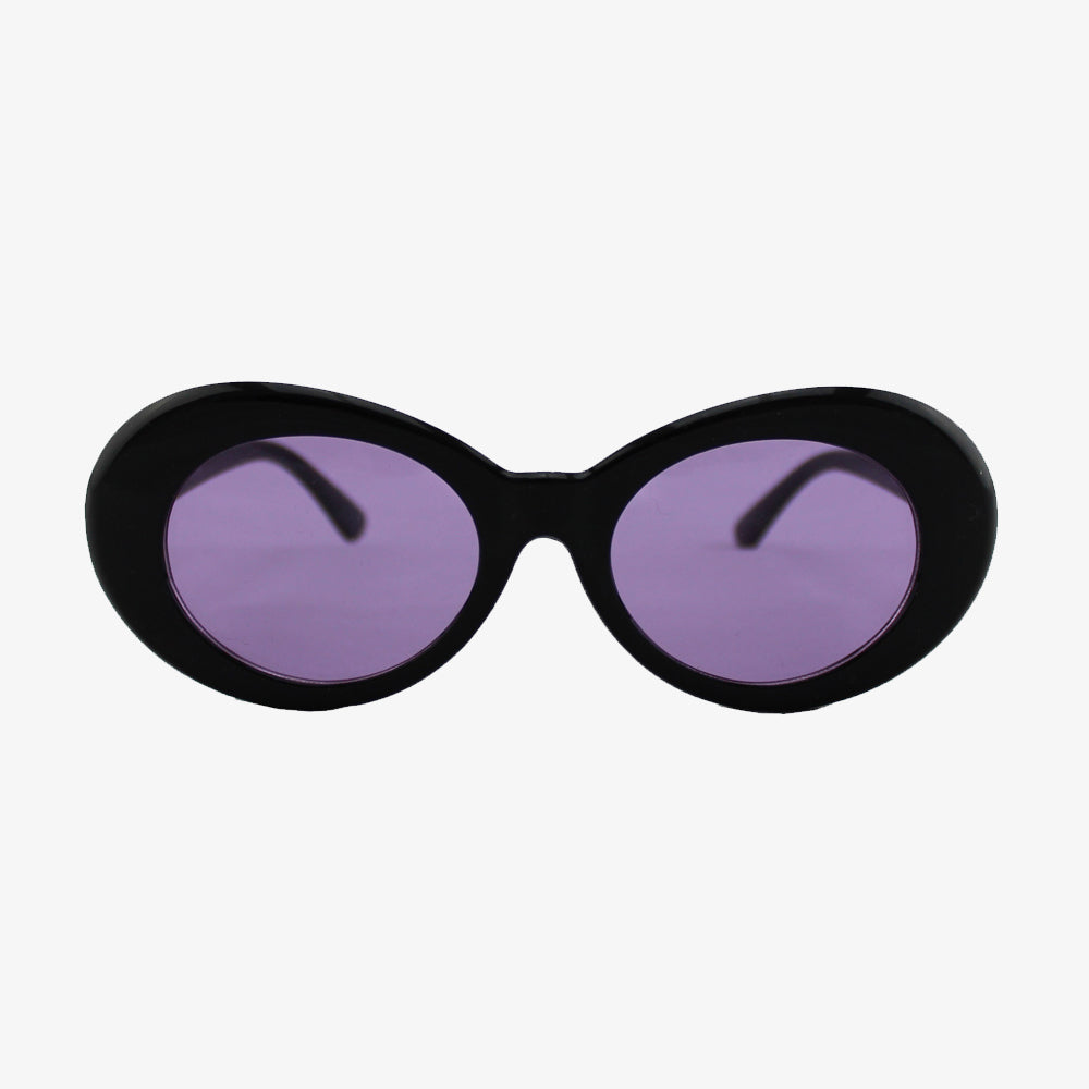 Round Plastic Kurt Cobain Style Black Sunglasses with Purple Lens - Accessory O
