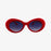 Round Plastic Kurt Cobain Style Red Sunglasses with Black Lens - Accessory O