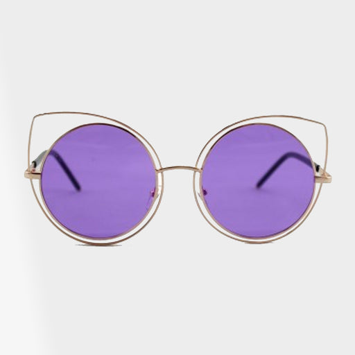Violet Metal Oversized Double Wire Cat Eye Frame Sunglasses - Accessory O