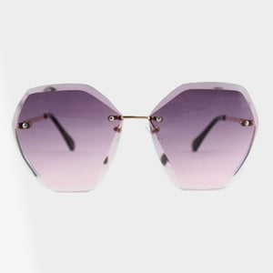 Elise Rimless Jewel Shape Double Lens Sunglasses - Accessory O