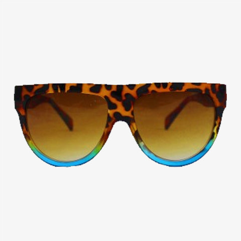 Exaggerated Visor Sunglasses with Tortoiseshell/Blue Frame - Accessory O