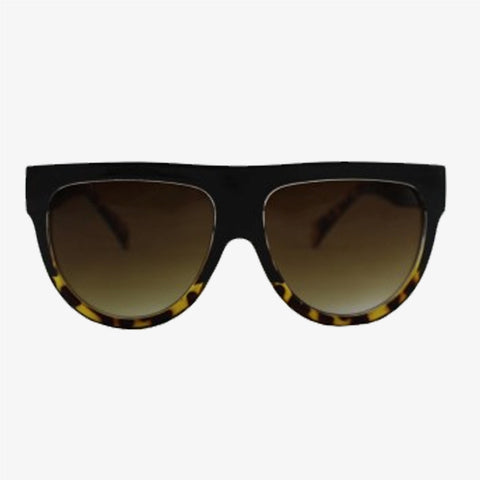 Exaggerated Visor Sunglasses with Black/Tortoiseshell Frame - Accessory O