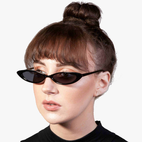 Tina Black Thin Retro Sunglasses - Accessory O