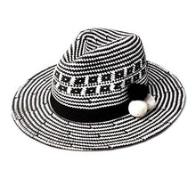 Load image into Gallery viewer, fedora wide brim sun hat trilby beach wool amazon cute summer sunshine pom monochrome ladies