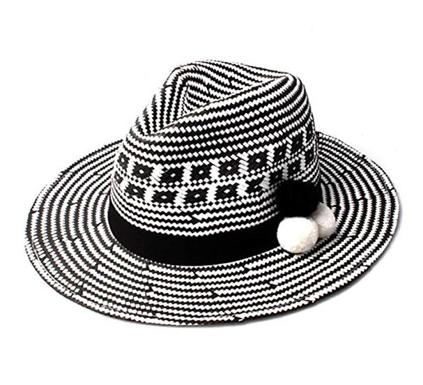fedora wide brim sun hat trilby beach wool amazon cute summer sunshine pom monochrome ladies