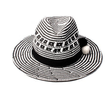Load image into Gallery viewer, Ladies Monochrome effect Sun Hat with pom pom Detail | ACCESSORYO