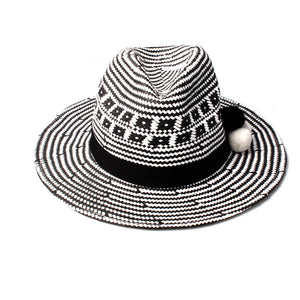 Ladies Monochrome effect Sun Hat with pom pom Detail | ACCESSORYO