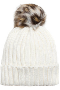 Cream Beanie Hat With Leopard Print Faux Fur Pompom