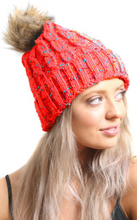 Load image into Gallery viewer, Red Multi Cable Knit Beanie Hat With Faux Fur Pom Pom