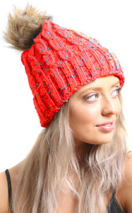 Red Multi Cable Knit Beanie Hat With Faux Fur Pom Pom