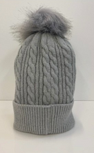 Load image into Gallery viewer, Light Grey Beanie With Detachable Pom Pom