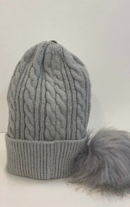 Light Grey Beanie With Detachable Pom Pom